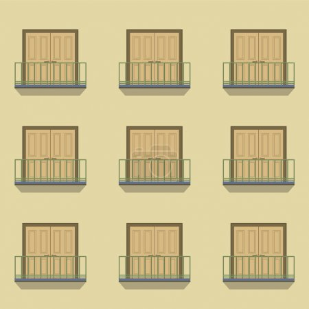 Closed Doors With Balcony Vintage Style Vector Illustration