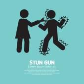 Woman Using A Stun Gun With A Man Vector Illustration