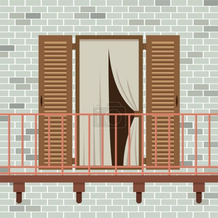 Opened Wooden Door With Balcony Vector Illustration