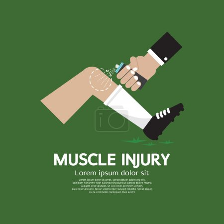 Muscle Injury With Spray Healing Vector Illustration