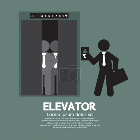 Businessman Standing With Crowded Elevator Vector Illustration