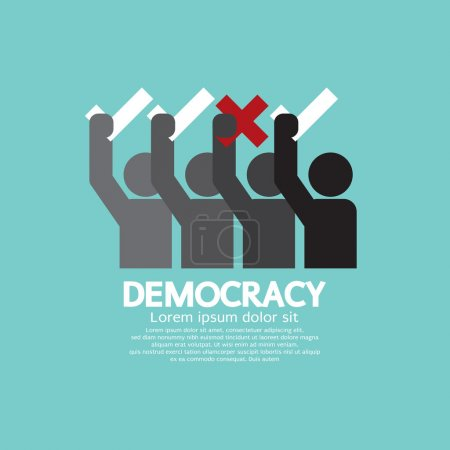 People Showing Vote Yes And No Democracy Concept Vector Illustra