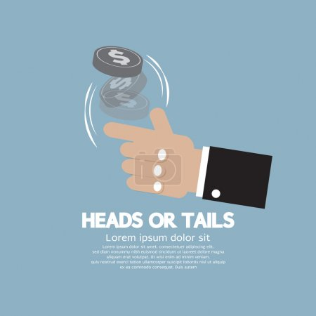 Heads Or Tails Cast Lots Concept Vector Illustrati...