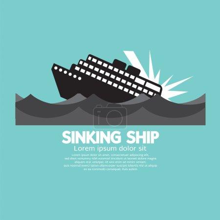 Illustration for Sinking Ship Black Graphic Vector Illustration - Royalty Free Image