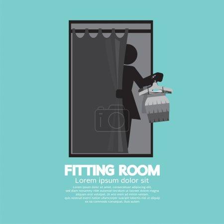 Fitting Room Black Graphic Vector Illustration