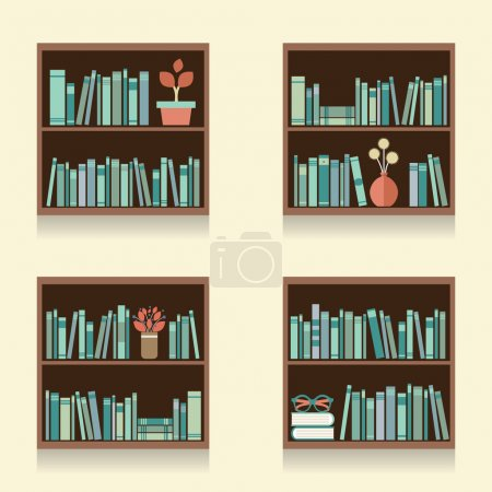 Set Of Wooden Bookshelves On Wall Vector Illustration