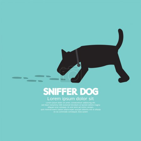 Sniffer Dog Smell Footprint On Ground Vector Illustration