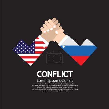 USA VS Russia Arm-Wrestle Vector Illustration