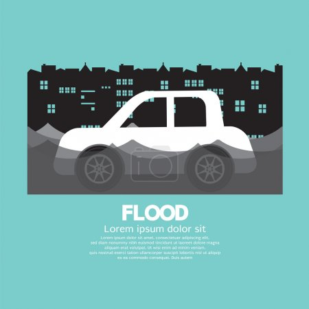 Car's Side View In A Flood Vector Illustration