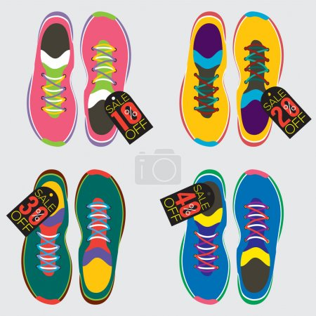 Illustration for Top View Of Running Shoes Vector Illustration - Royalty Free Image