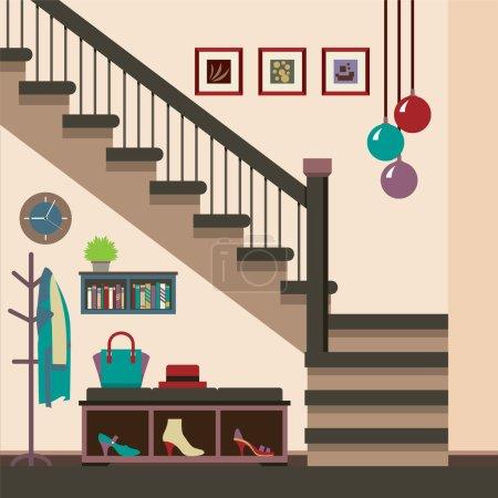 Hallway Decoration Vector Illustration