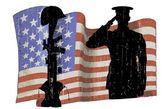 Fallen soldier american flag