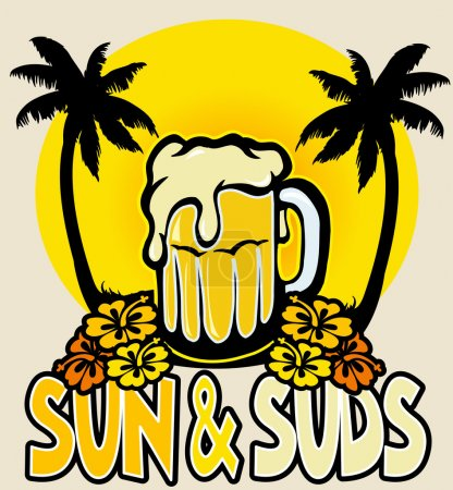 Illustration for Sun and suds text, vector illustration - Royalty Free Image