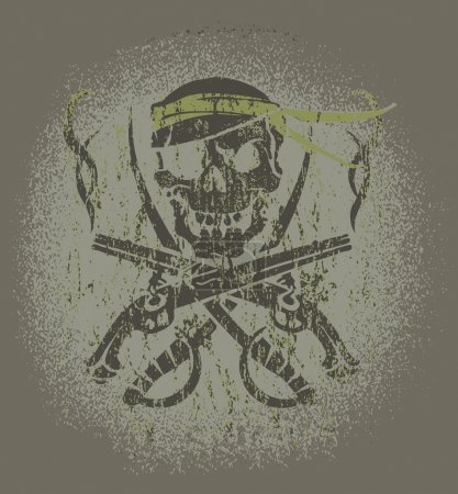 Illustration for Skull and guns on grey backgroung - Royalty Free Image