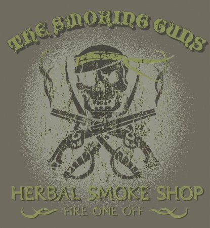 Illustration for Skull and guns  with text the smoking guns herbal smoke shop fire one off on grey backgroung - Royalty Free Image