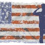 Marine with flag on background, vector illustratio...