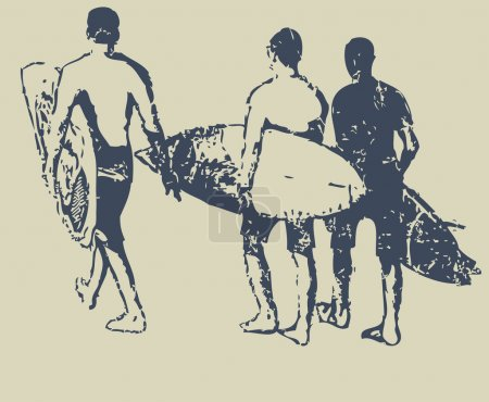 Surfers with surfboards walking