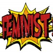 Comic book explosion bubble feminist...