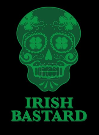 .Green lucky Irish skull