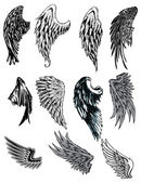 Vector set of hand drawn wings