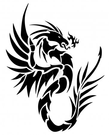 Stylized black Tattoo dragon on white background...