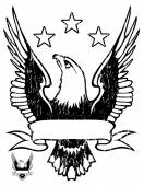 Emblem with eagle and ribbon.