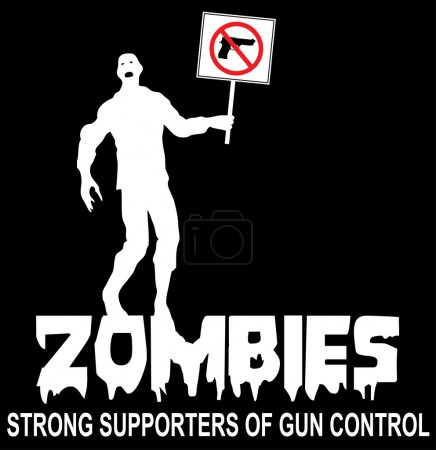 Illustration for Zombies strong supportes of gun control. Cartoon zombie  with a gun control sign - Royalty Free Image