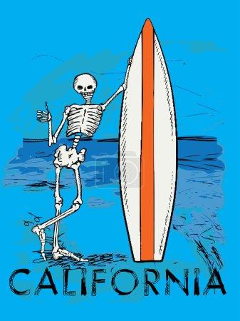 skeleton guy leaning on surfboard