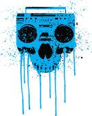 Blue radio skull
