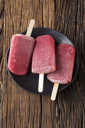 Raspberry and vanilla ice pops