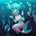 Young mermaid in the sea. Vector cartoon illustration