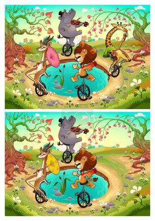 Illustration pour Repérez les différences. Deux images avec six changements entre eux, vecteur et illustrations de dessins animés - image libre de droit