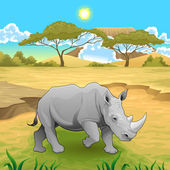 African landscape with rhinoceros.