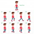 Animation of boy walking. Eight walking frames and...