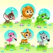 Funny wild animals with background. Cartoon vector...
