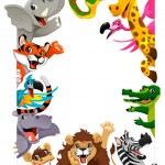 Funny group of Jungle animals. Cartoon vector illu...