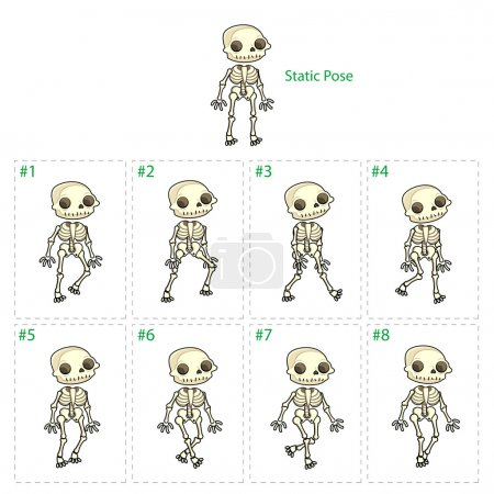 Illustration for Animation of skeleton walking. Eight walking frames + 1 static pose. Vector cartoon isolated character/frames. - Royalty Free Image