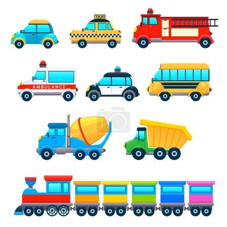 Foto de Vehículos divertidos. Vector dibujos animados objetos aislados . - Imagen libre de derechos