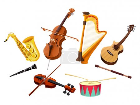 Illustration for Musical instruments. Vector isolated objects - Royalty Free Image