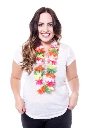 woman wearing hawaiian garland