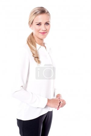 Business woman with clasped hands