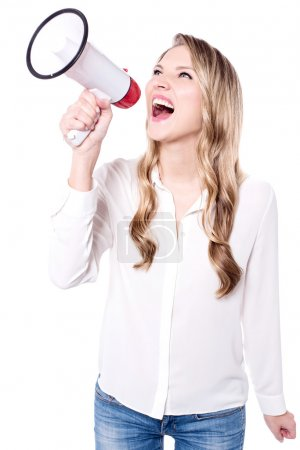 woman making announcement in megaphone