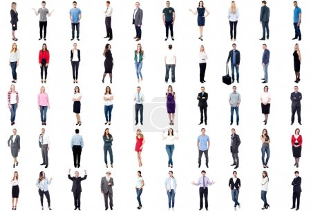 Photo for Collage of people with different poses isolated on white background - Royalty Free Image