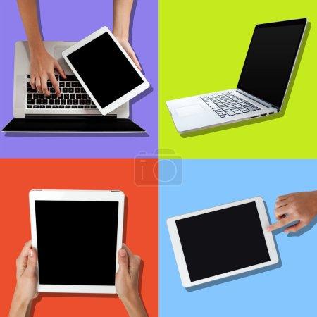 Photo pour Main de l'homme à l'aide d'ordinateurs portables et tablet - image libre de droit