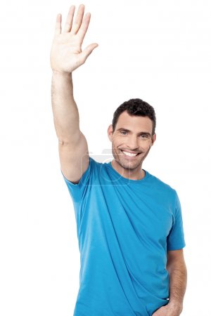 Middle aged man waving hand