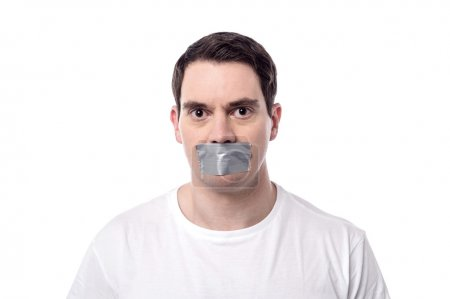Man with mouth covered