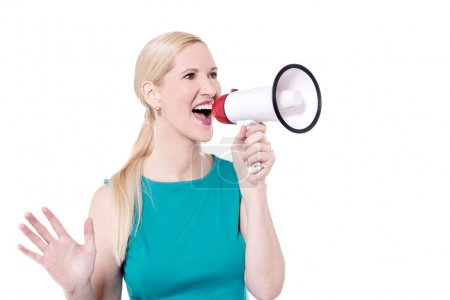 Photo for Attractive woman advertisement with megaphone - Royalty Free Image