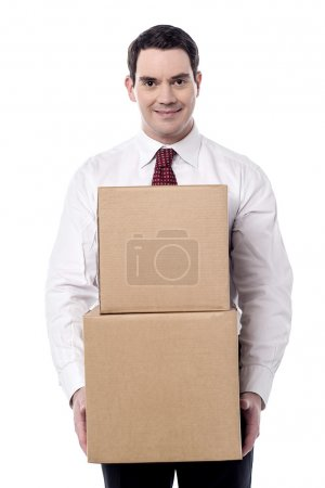 Photo for Corporate man carrying a cardboard boxes in hand on white background - Royalty Free Image