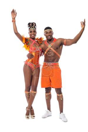 Samba dancers in carnival costumes