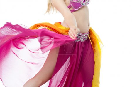 Gorgeous young belly dancer in action